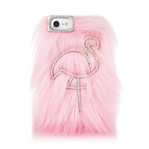 buy popular 20eaa e7dbc NIB Pink Faux Fur & Rhinestone Flamingo Phone Case NWT